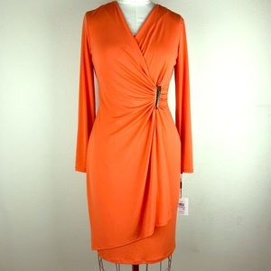 Calvin Klein Ruched Long Sleeves Dress Size 6